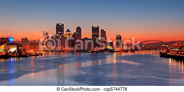 Pittsburgh Skyline at Night - csp5744778