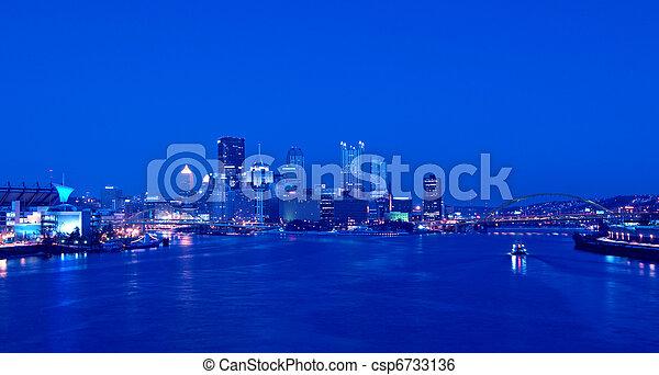 Pittsburgh Skyline at Night - csp6733136
