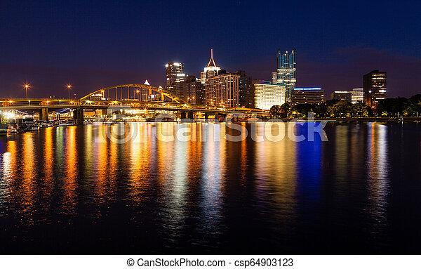 Pittsburgh skyline at night - csp64903123