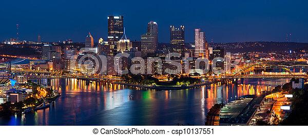 Pittsburgh skyline panorama. - csp10137551