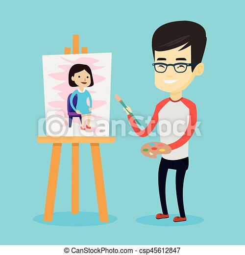 pittura, maschio, portrait., creativo, artista - csp45612847