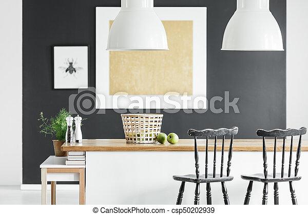 Pittura oro cucina sbarra oro countertop legno sgabelli