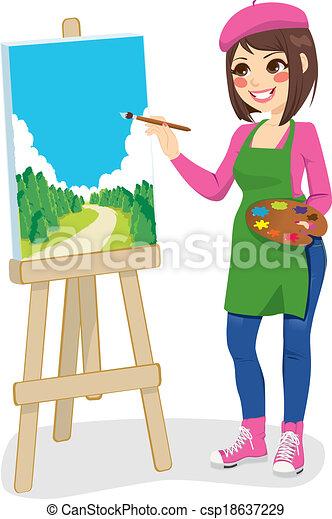 pittura, parco, artista - csp18637229