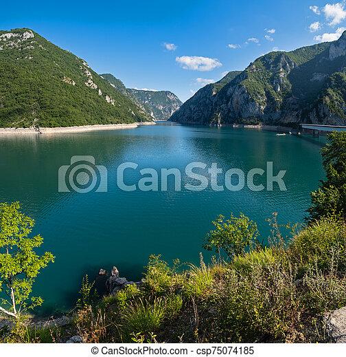 Piva Lake (Pivsko Jezero) view in Montenegro. - csp75074185