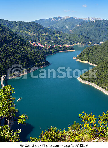 Piva Lake (Pivsko Jezero) view in Montenegro. - csp75074359