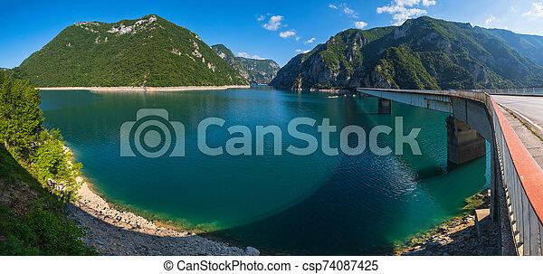 Piva Lake (Pivsko Jezero) view in Montenegro. - csp74087425