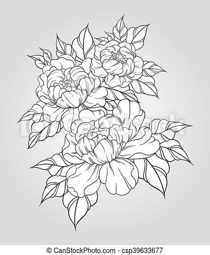 pivoines tatouage vintage japonaise illustration main traditionnel vecteur floral. Black Bedroom Furniture Sets. Home Design Ideas