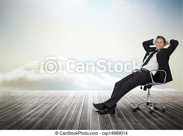 pivot, sourire, chaise, homme affaires, séance - csp14989014