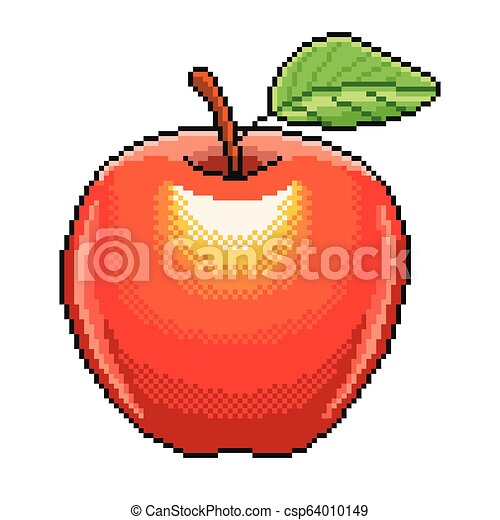 Pixel Apple Fruit Detailed Illustration Isolated Vector
