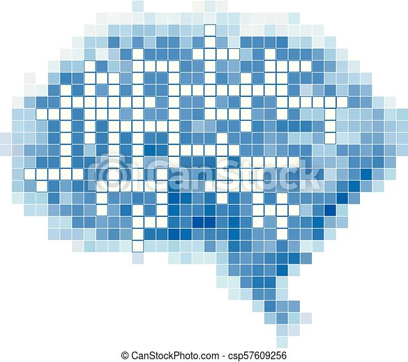 Beautiful Pixel Art Brain Cross Word Illustration