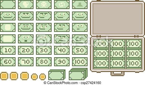 Pixel art collection of money - csp27424160