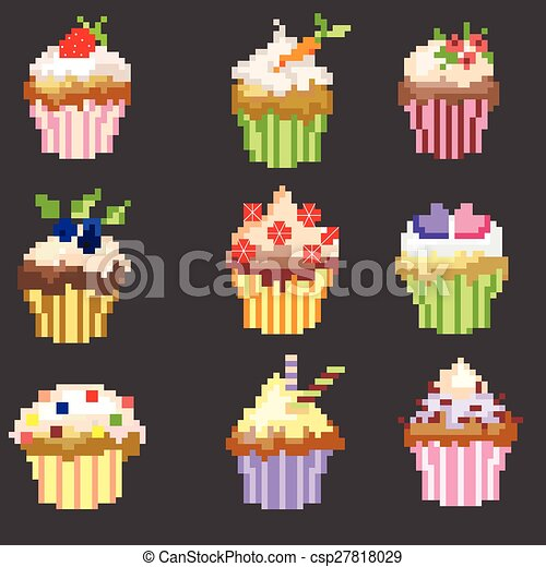 Pixel Fruit Icons Clipart Vector And Illustration 378 Pixel