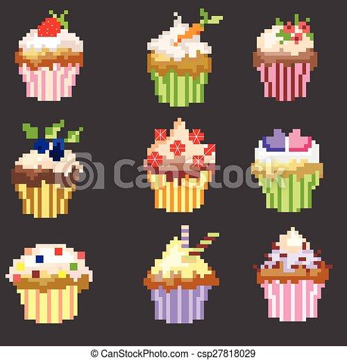 Pixel Art Cupcakes