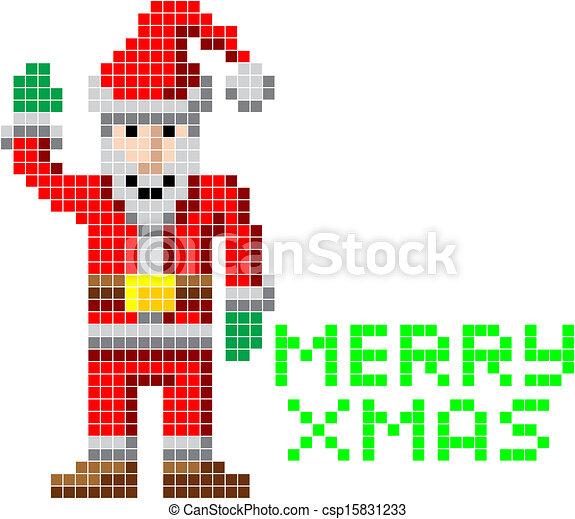 Pixel Art Noël Santa Retro