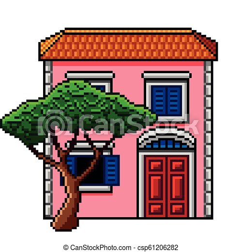 Pixel Art Pink Italian House With Stone Pine Isolated Vector