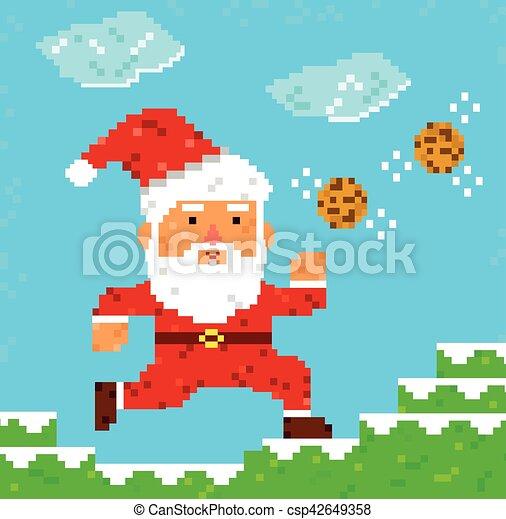 0528d71b9866 Pixel art santa clause. Retro 8 bit pixel santa clause catching cookies.