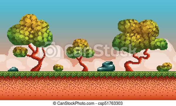 Pixel Art Seamless Background Location With Forest In Autumn Landscape For Game Or Application Canstock