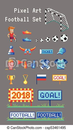 Pixel Art Set Of Football Related Vector Icons