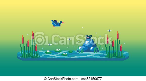 Pixel art swamp with cute frog, reeds, water lilies and duck. - csp83150677