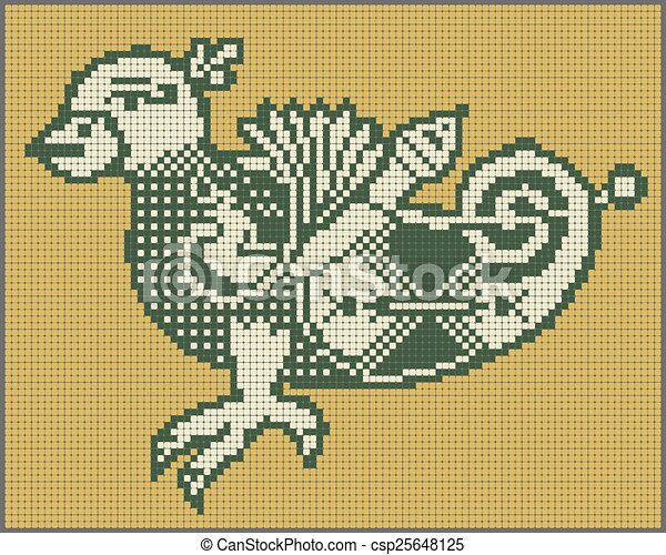 pixel bird design in folk style for cross stitch embroidery - csp25648125
