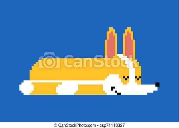 Pixel Bit Mignon Chouchou Chien Illustration Dormir Vecteur Endormi Corgi Petit 8 Dessin Animé Art