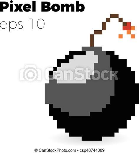 pixel bomb game vector illustration 8 bit bomb. Black Bedroom Furniture Sets. Home Design Ideas