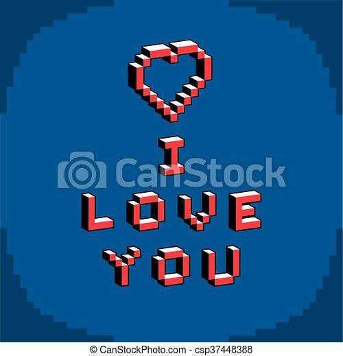 Pixel Coeur Art Card Amour Cree Morceau Contemporain Valentin Romance Jour Theme Vecteur 8 Numerique Locution