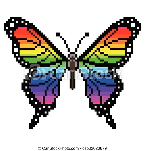 Pixel Colorful Butterfly Isolated Vector