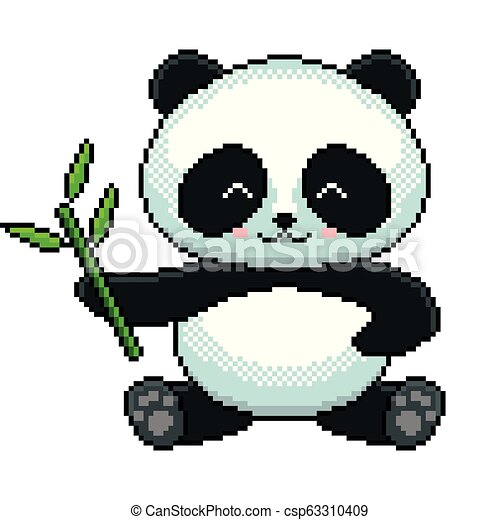 Pixel Cute Panda Detailed Illustration Isolated Vector Pixel Art Cute Panda Detailed Illustration Isolated Vector