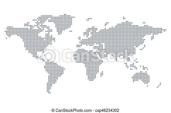Pixel dots world map pixelated world map isolated on white pixel dots world map csp46234302 gumiabroncs Image collections
