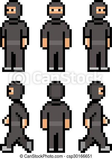 Pixel Funny Black Ninja