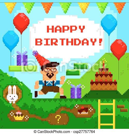 Birthday Card Designed As Retro Pixel Game