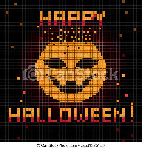 Pixel Happy Halloween Pumpkin