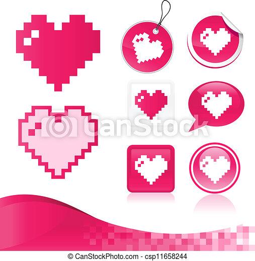 Pixel Heart Design Kit - csp11658244