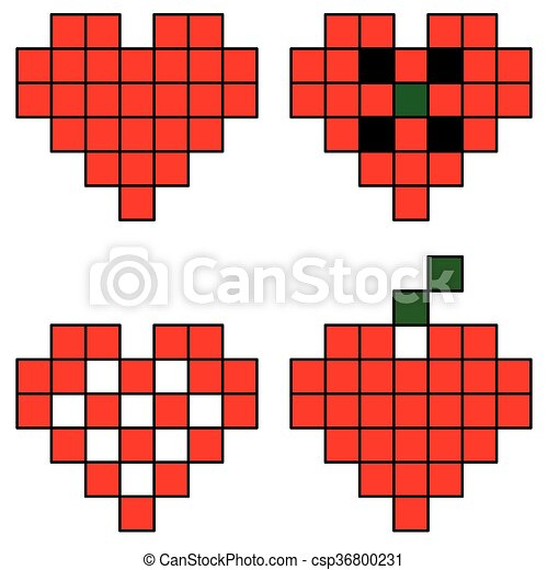 Pixel hearts - csp36800231