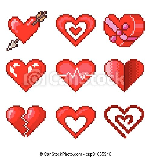 Pixel hearts for games icons vector set - csp31655346