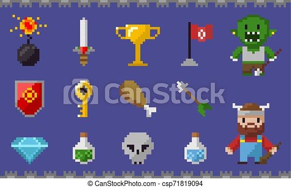 Pixel Icons Set, Chicken Leg, Skull Viking Diamond - csp71819094