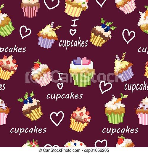 pixel muster kuchen seamless frchte csp31056205 - Kuchen Muster