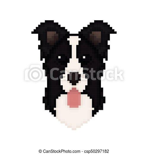 Pixel Owczarek Szkocki Sztuka Głowa Pies Brzeg Style