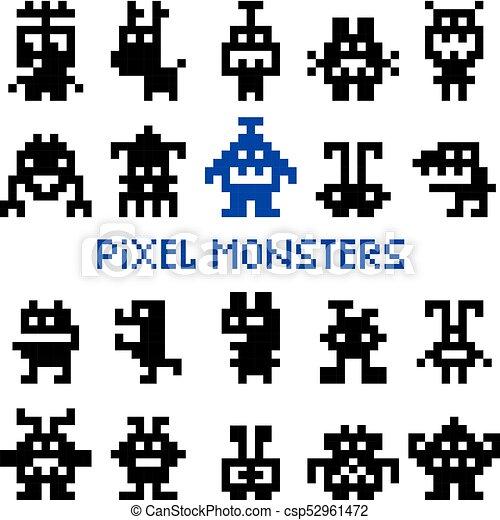 Pixel, retro, monstruos, espacio. Espacio, juego, ilustración ...