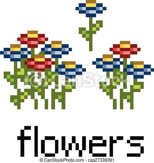 Pixel set flowers - csp27339391