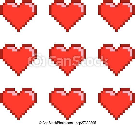 Pixel set hearts - csp27339395