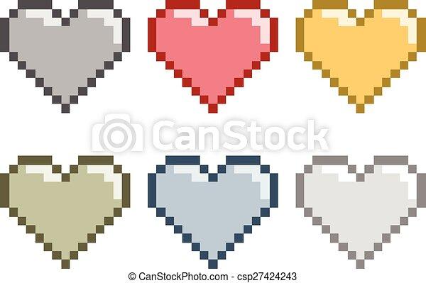 Pixel set hearts - csp27424243