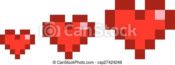 Pixel set hearts - csp27424246