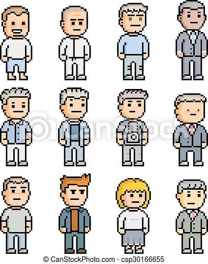 Pixel set of people - csp30166655