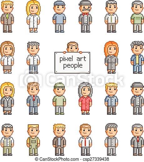 Pixel set of people - csp27339438