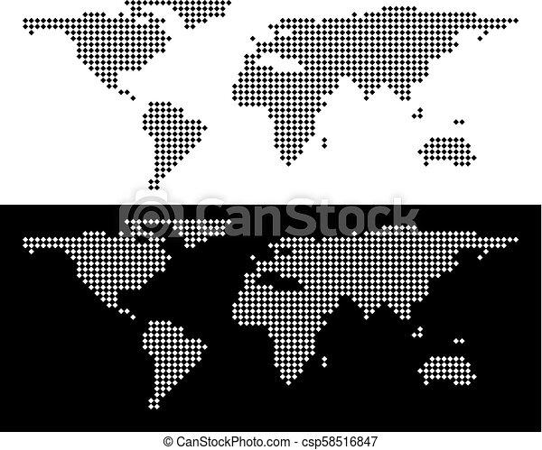 Dot World Map.Pixel World Map Vector Rhombus Dot World Map Abstract Territory