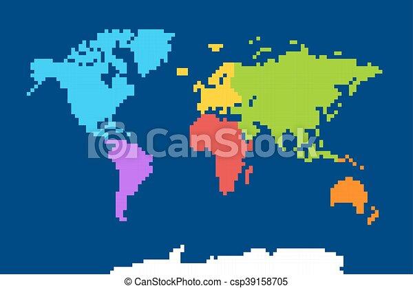 Map Of World Vector.Pixel World Colored World Map Pixel Art Vector Illustration