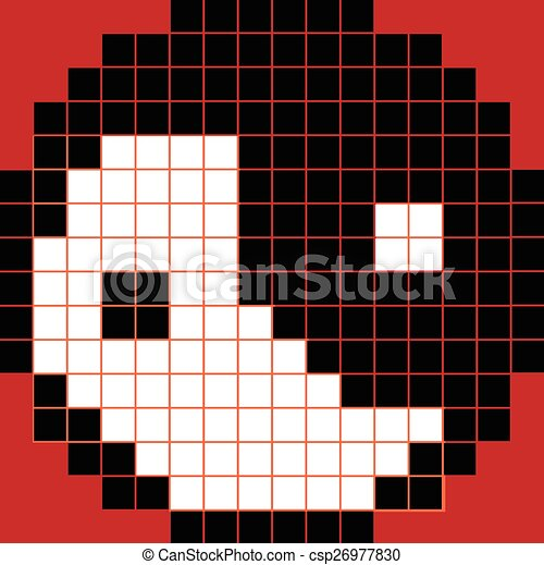 Pixel yng yang black and white on red background.