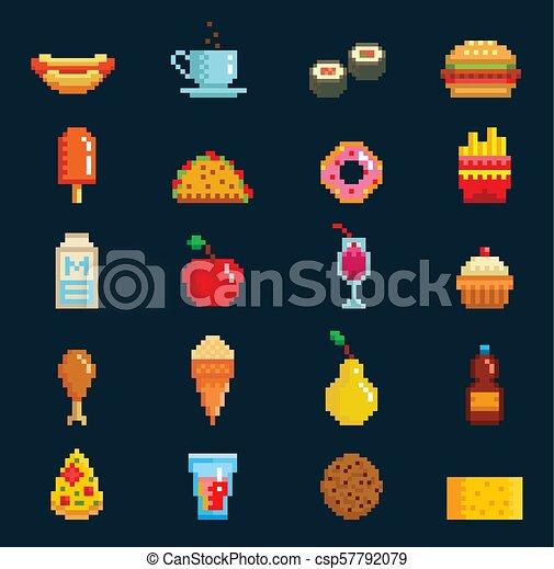 Pixelart Signe Symboles Informatique Conception Jeune Boissons Icones Toile Hamburger Chaud Pizza Elements Canstock